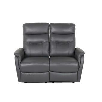 เก้าอี้พักผ่อนหนังแท้ เก้าอี้พักผ่อน 2 ที่นั่ง รุ่น Liliana สีสีเทา-SB Design Square