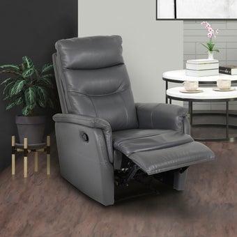 เก้าอี้พักผ่อนหนังแท้ 1 ที่นั่ง รุ่น Liliana สีเทาเข้ม 08