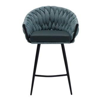เก้าอี้ทานอาหาร เก้าอี้สตูลบาร์เหล็กเบาะหนัง รุ่น Hexa สีสีเขียว-SB Design Square