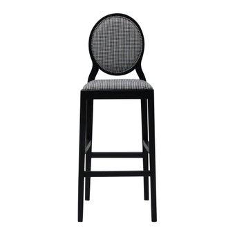 เก้าอี้ทานอาหาร เก้าอี้สตูลบาร์ไม้เบาะผ้า สีสีดำ-SB Design Square