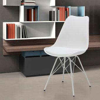 เก้าอี้ทานอาหาร เก้าอี้เหล็กเบาะหนัง รุ่น Ashira สีสีขาว-SB Design Square