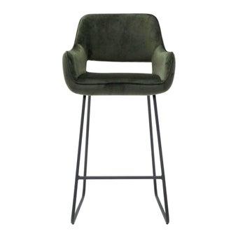 เก้าอี้ทานอาหาร เก้าอี้สตูลบาร์เหล็กเบาะผ้า รุ่น Yabber สีสีเขียว-SB Design Square