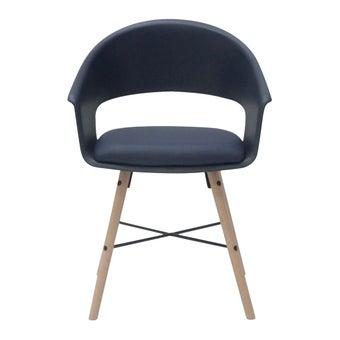 เก้าอี้ทานอาหาร เก้าอี้ไม้เบาะหนัง รุ่น A-Ivar สีสีฟ้า-SB Design Square