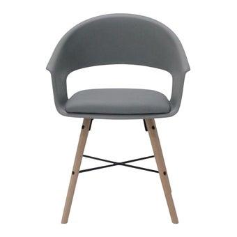 เก้าอี้ทานอาหาร เก้าอี้ไม้เบาะหนัง รุ่น A-Ivar สีสีเทา-SB Design Square