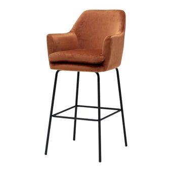 เก้าอี้ทานอาหาร เก้าอี้สตูลบาร์เหล็กเบาะผ้า รุ่น A-Chisa สีสีส้ม-SB Design Square