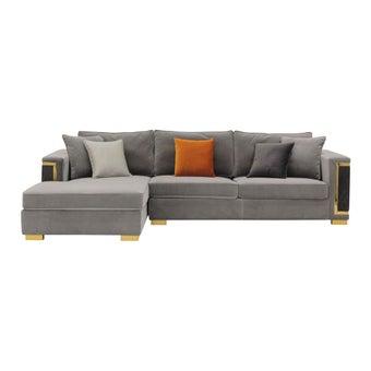 โซฟาผ้า โซฟาเข้ามุมซ้าย รุ่น Hunder สีสีน้ำตาล-SB Design Square