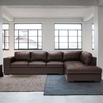 โซฟาหนังสังเคราะห์ โซฟาเข้ามุมขวา รุ่น Timmer สีสีน้ำตาล-SB Design Square