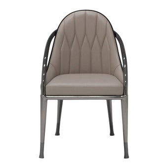 เก้าอี้ทานอาหาร เก้าอี้เหล็กเบาะหนัง รุ่น Winla สีสีน้ำตาล-SB Design Square