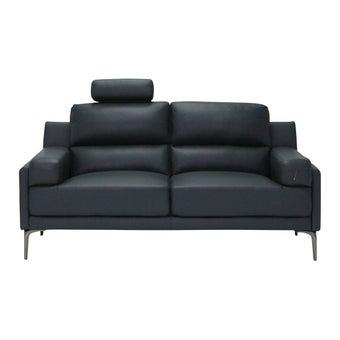 โซฟาหนังแท้ โซฟา 2 ที่นั่ง รุ่น Goya สีสีดำ-SB Design Square
