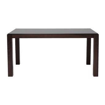 โต๊ะทานอาหาร โต๊ะอาหารขาไม้ท๊อปกระจก รุ่น Everly สีสีน้ำตาล-SB Design Square