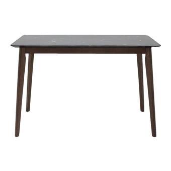 โต๊ะทานอาหาร โต๊ะอาหารขาไม้ท๊อปหิน รุ่น Morsen สีสีดำ-SB Design Square