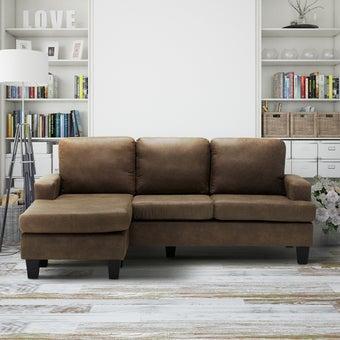 โซฟาผ้า โซฟาเข้ามุมสลับด้านได้ซ้าย/ขวา รุ่น Carino สีสีน้ำตาล-SB Design Square