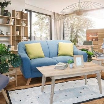 โซฟาผ้า โซฟา 2 ที่นั่ง รุ่น Cambell สีสีฟ้า-SB Design Square
