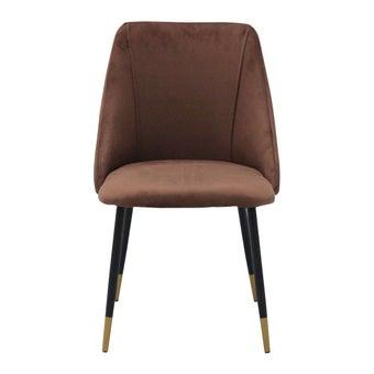 เก้าอี้ทานอาหาร เก้าอี้เหล็กเบาะผ้า รุ่น Lamy สีสีน้ำตาล-SB Design Square
