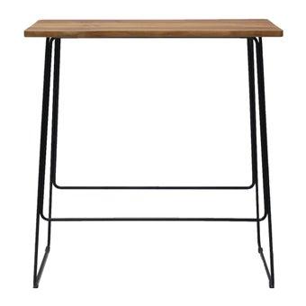 โต๊ะทานอาหาร โต๊ะอาหารขาเหล็กท๊อปไม้ รุ่น Fatin สีสีลายไม้ธรรมชาติ-SB Design Square