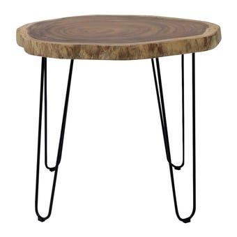 โต๊ะทานอาหาร โต๊ะอาหารขาเหล็กท๊อปไม้ รุ่น Ferric สีสีลายไม้ธรรมชาติ-SB Design Square