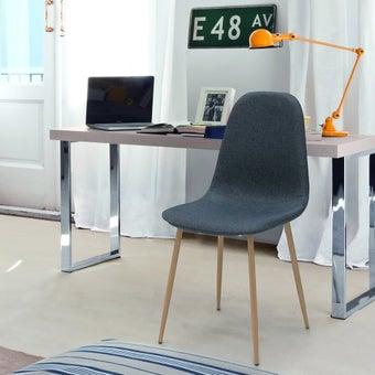 เก้าอี้ทานอาหาร เก้าอี้เหล็กเบาะผ้า รุ่น Lasta สีสีฟ้า-SB Design Square