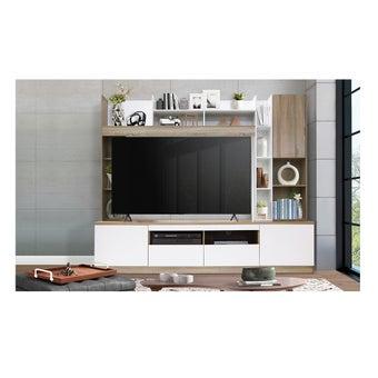 ชุดวางทีวีและตู้โชว์ รุ่น SESAR แบรนด์ Koncept Smart สีไม้อ่อน01