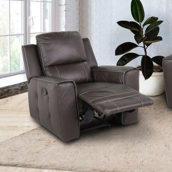 เก้าอี้พักผ่อนหนังแท้ 1 ที่นั่ง  รุ่น Lucier สีน้ำตาล 07