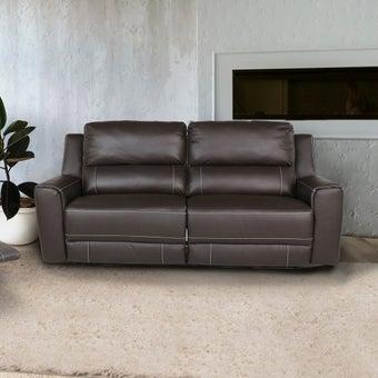 เก้าอี้พักผ่อนหนังแท้ 2 ที่นั่ง  รุ่น Lucier สีน้ำตาล 07
