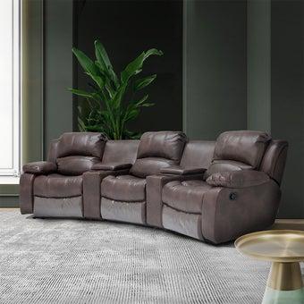 เก้าอี้พักผ่อนผ้าลายหนัง 3 ที่นั่ง รุ่น Multi สีน้ำตาลเข้ม 02