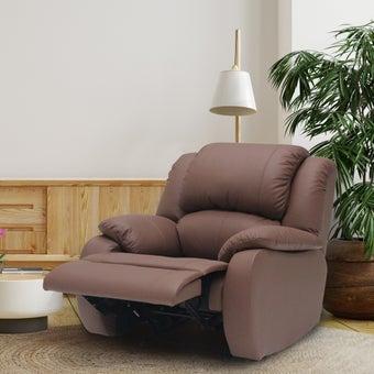เก้าอี้พักผ่อนหนังแท้ ขนาด 1 ที่นั่ง รุ่น Tott สีน้ำตาลอ่อน1