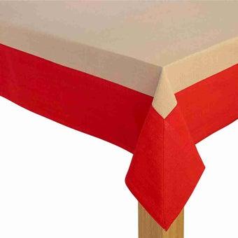 ผ้าปูโต๊ะ Delice สีครีม-แดง
