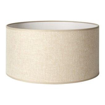 โป๊ะโคมไฟผ้า Drum Linen สีเบจ 35x18cm-00