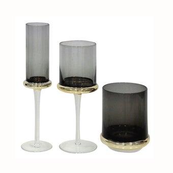 แก้ว#YL-WY780 แก้ว สีดำเทาYLC Set of 3-00