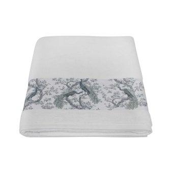 ผ้าขนหนู#3733839 สีขาว ลายนกยูง