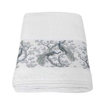 ผ้าขนหนู#3733840 สีขาว ลายนกยูง