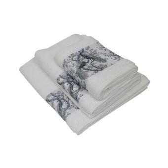 ผ้าขนหนู#3733841 สีขาว ลายนกยูง-00