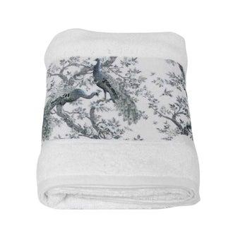 ผ้าขนหนู#3733841 สีขาว ลายนกยูง
