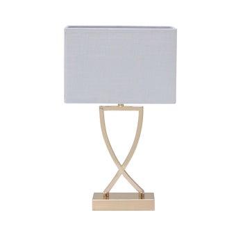 SBโคมไฟตั้งโต๊ะ#JM7336/โลหะผ้าขาวทอง/JMP สีทอง1