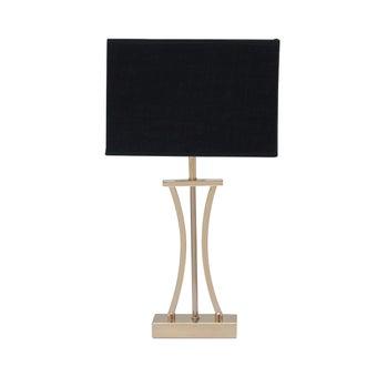 SBโคมไฟตั้งโต๊ะ#JM7333/โลหะผ้า/ดำทอง/JMP สีทอง1
