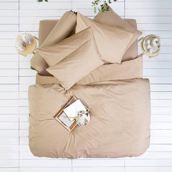Lotus ชุดผ้าปู 6ฟุต5ชิ้น รุ่น Impression Solid : LI-SD 02 สีน้ำตาล2