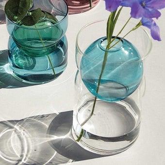 แจกัน Noonmoou Bubble vase Clear-Blue(M)