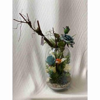 8@NINE ดอกไม้ปลอม/EN4 909/G-m/สีฟ้าขาว