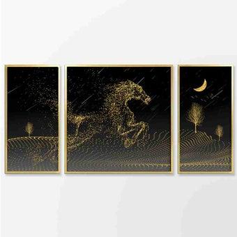 รูปพร้อมกรอบ Doseart รุ่น Golden Horse approx. (SET 3 PC.)-02