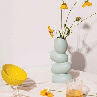 OP.UN Ceramic Vase(green pastel)CV0017 สีเขียว01