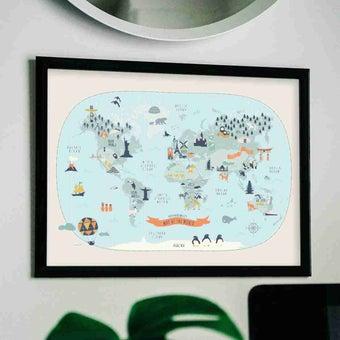 รูปพร้อมกรอบ DoseArt รุ่น The World Architecture Map 30x35 cm