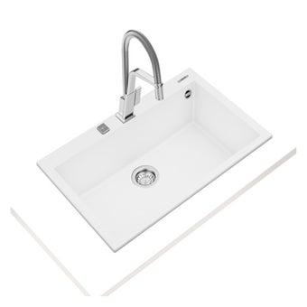 อ่างล้างจานแกรนิต TEKA รุ่น FORSQUARE 72.40 TG ARTIC WHITE แถมฟรี ก็อกน้ำเย็น รุ่น BKT