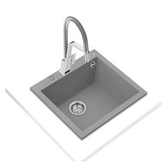 อ่างล้างจานแกรนิต TEKA รุ่น FORSQUARE 50.40 TG STONE GREY แถมฟรี ก็อกน้ำเย็น รุ่น BKT