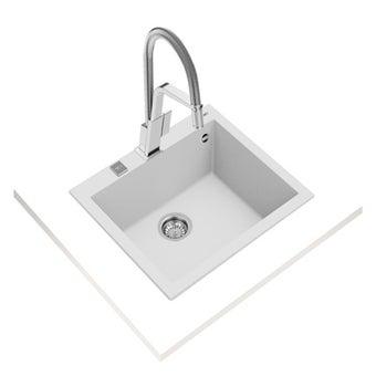 อ่างล้างจานแกรนิต TEKA รุ่น FORSQUARE 50.40 TG ARTIC WHITE แถมฟรี ก็อกน้ำเย็น รุ่น BKT