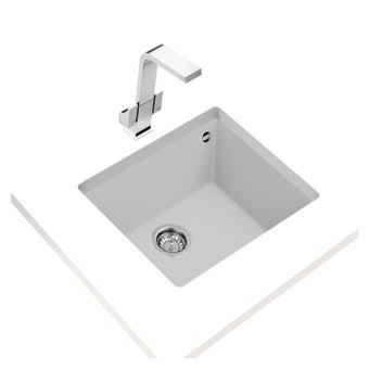 อ่างล้างจานแกรนิตแบบติดตั้งใต้เคาน์เตอร์ครัว  TEKA รุ่น SQUARE 50.40 TG WHITE แถมฟรี ก็อกน้ำเย็น รุ่น BKT