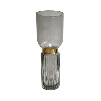 D'Atelier แจกันแก้วทรงสูงสีดำคาดทอง#SB1154