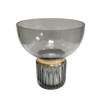 D'Atelier แจกันแก้วทรงสูงสีดำคาดทอง#SB1153