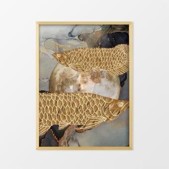รูปพร้อมกรอบ DoseArt รุ่น Golden Arowana XL 60x75 cm (รูปรวมกรอบ 63x78 cm) สีทอง1
