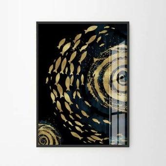 รูปพร้อมกรอบ DoseArt รุ่น Golden Fish and Navy XL 60x75 cm (รูปรวมกรอบ 63x78 cm) สีฟ้า1