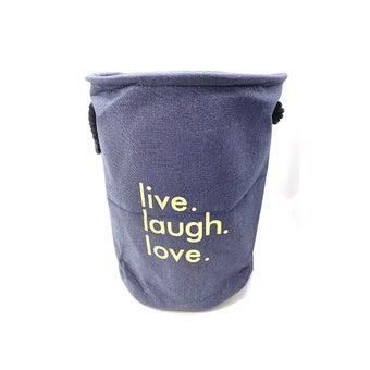 Chiranatda ตะกร้าผ้าทรงกลม live lough love สีกรม01